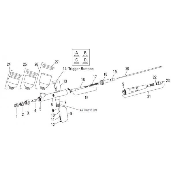 Set separatie aerograf DeVilbiss DAGR